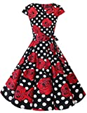DRESSTELLS Version 6.0 Vintage 1950's Robe de soirée Cocktail rétro Style années 50 Manches Courtes, Black Red Rose Dot 2XL