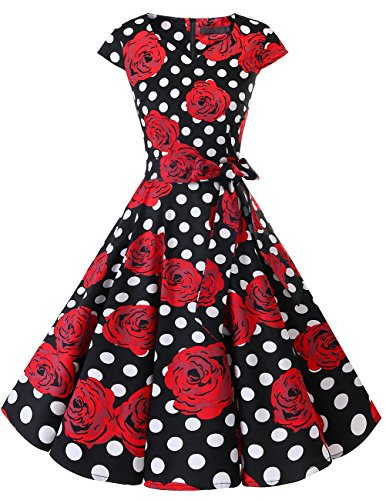 Dresstells Damen Vintage 50er Cap Sleeves Rockabilly Swing Kleider Retro Hepburn Stil Cocktailkleid Black Red Rose Dot 2XL