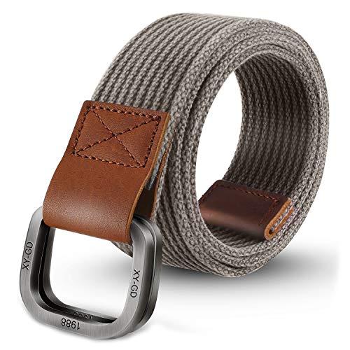 ITIEZY Cintura Uomo In Tela Fibbia Metallo Militare Tattica Sportiva Casual Moda Grigio Blu 110/120/130cm