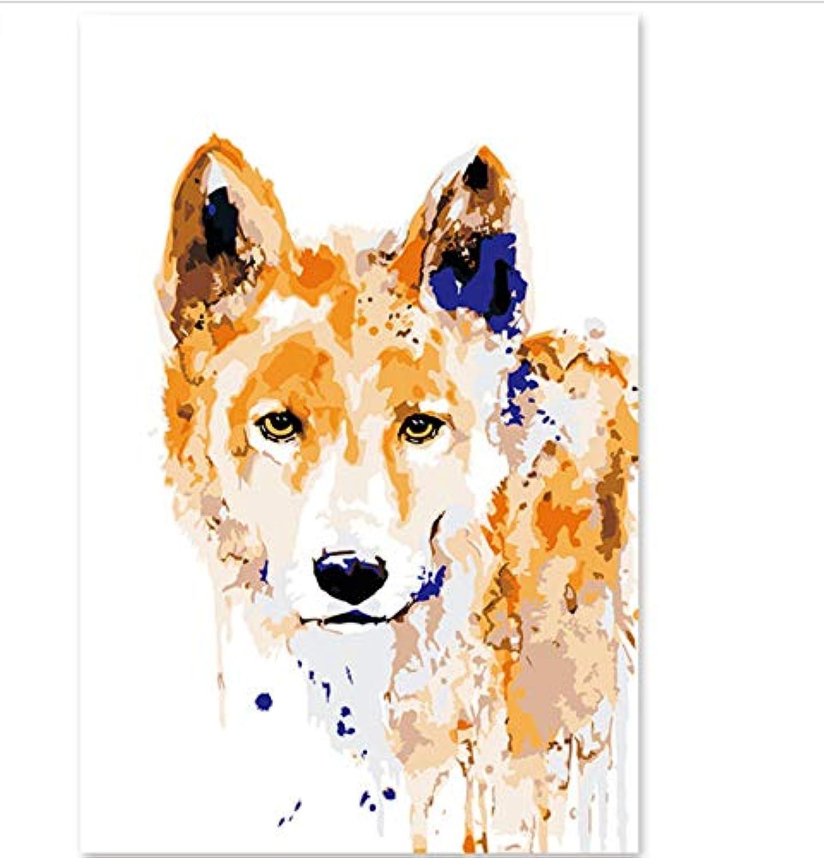 XIGZI Digitale dekorative dekorative dekorative Malerei handgemalte Aquarellbilder Hunde besitzen Farben Blaumen 40X50 cm,Mit Holzrahmen,D B07P4XDNTB | Eine Große Vielfalt An Modelle 2019 Neue  12fb26