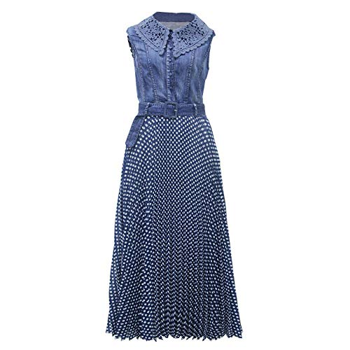 Damen Beiläufiges Strandkleid Polka Dot Dress Damen Weste Denim Retro Lace Plissee Wave Point Freizeitkleid@Blau_XL