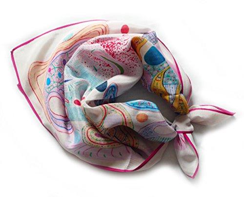 Quadratischer Schal aus 100% Seide. 52 cm x 52 cm, Elfenbeinfarbe, hellrosa und blau.
