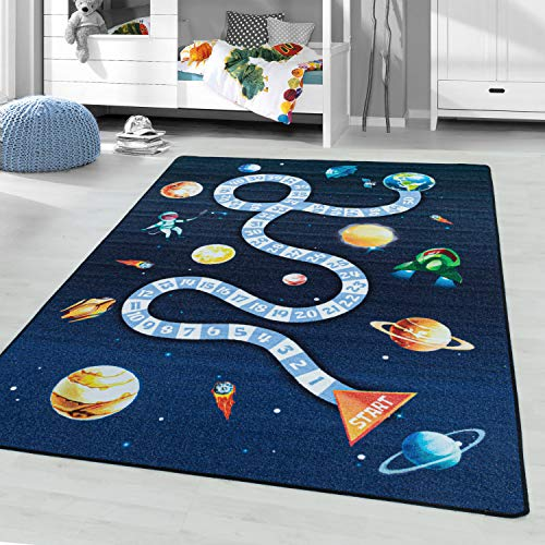 Alfombra para niños, alfombra de juego, caja de salto, caja de salto nave espacial, astronauta, espacio, de planeta, , 8 mm, pelo corto con Ökotex Standard 100 , Talla:160 x 230 cm, Color:marina