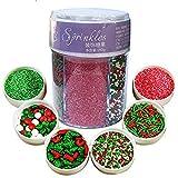 Decoración comestible para tartas, cupcakes, decoración de tartas, para Navidad, Pascua, San Valentín (190 g de Navidad (6 colores)