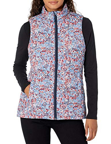 Amazon Essentials Women's Mid-Weight Puffer Vest, Navy Tossed Floral, XX-Large