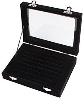 Niome Women Velvet Glass Jewelry Box Display Storage Case Holder Ring Earrings Organizer Stand (Black)