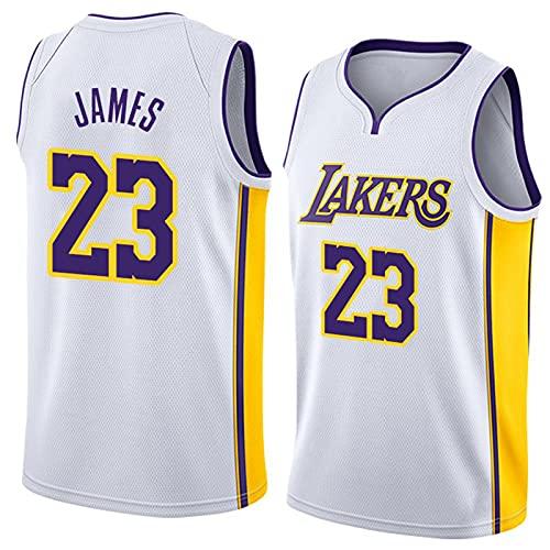 DDSGG Maglia NBA dei Tifosi, Squadra di Basket Lebron James # 23 - NBA Lakers T-Shirt Comoda e Leggera, Top Sportivo per Adult