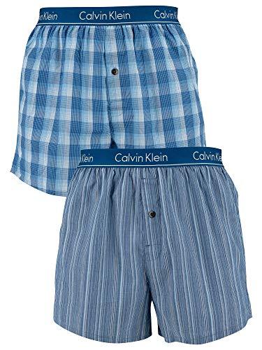 Calvin Klein 2P Slim FIT Boxer, Blau Gemustert ,L