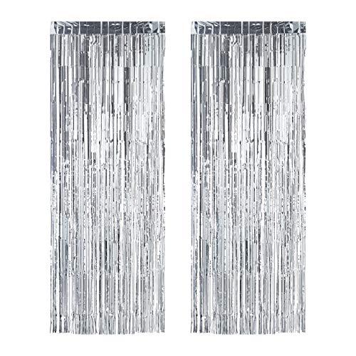 Relaxdays Set de dos cortinas para fiestas, Decoración para cumpleaños y bodas, Cortina de flecos brillantes, 100 x 250 cm, Plateado
