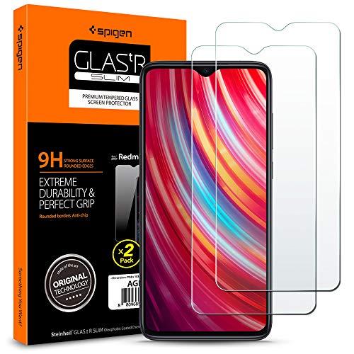 Spigen, 2 Pack, Cristal Templado Xiaomi Redmi Note 8 Pro, Glas.TR, Dureza 9H, Compatible con Fundas, Respuesta Táctil, Recubrimiento Oleofóbico, Anti-Arañazos (AGL00390)