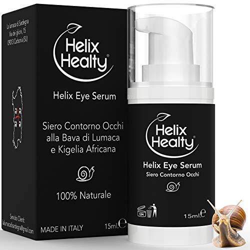 Sérum antiarrugas para el contorno de ojos, baba de caracol para ojeras, bolsas antiarrugas para hombre y mujere, 100% natural puro 15 ml Helix Healty fabricado en Italia