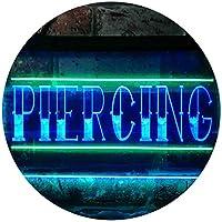 Piercing Shop Illuminated Dual Color LED看板 ネオンプレート サイン 標識 緑色 + 青色 300 x 210mm st6s32-i0549-gb