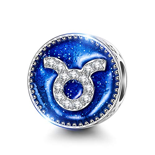 NINAQUEEN Charm fit Pandora Charms Zodiac Signs Taurus Women's Jewellery Best Gifts with Jewellery Box 925 Sterling Silver