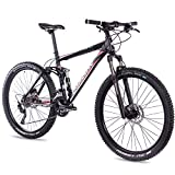 CHRISSON Fully Hitter FSF - Bicicleta de montaña (27,5 pulgadas, suspensión completa, con cambio Shimano Deore de 30 velocidades, horquilla Rock Shox), color negro y rojo