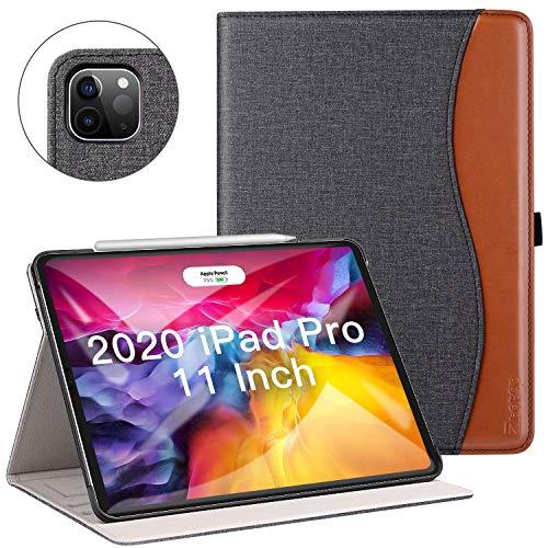 ZtotopCase Hülle für iPad Pro 11 2020(2.Generation), Premium Leder Leichte Geschäftshülle mit Ständer,Unterstützt Das Aufladen des 2nd Gen iPad Stift,für iPad Pro 11 Zoll 2020,Denim Schwarz