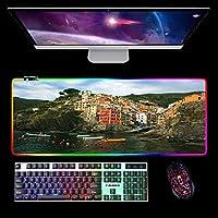 RGB拡張マウスパッド大型LEDゲーミングマウスマットチンクエテッレコンピューターキーボードマウスパッドゲームオフィス用ステッチエッジB 800X400MM