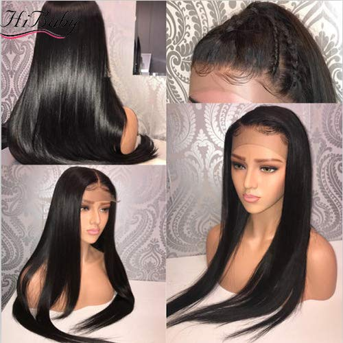 Straight 9A Full Lace Human Hair Wigs With Baby Hair For Black Women Deep Parting Remy Hair Glueless Full Lace Wig Pre Plucked With 18 inch (197g)