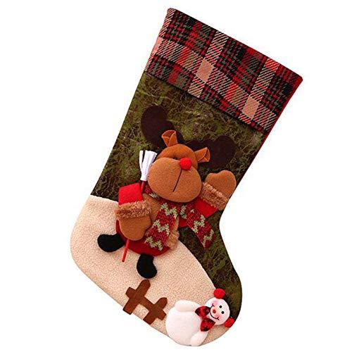 Monland 2020 Nueva VersióN de 19 Pulgadas Medias de Navidad CláSicas Personalizadas Grandes Medias de Navidad Santa, Mu?Eco de Nieve, Personaje de Reno