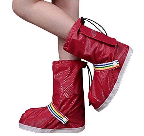 Haute aide neige bottes antidérapantes Couvre-chaussures imperméables, ROUGE