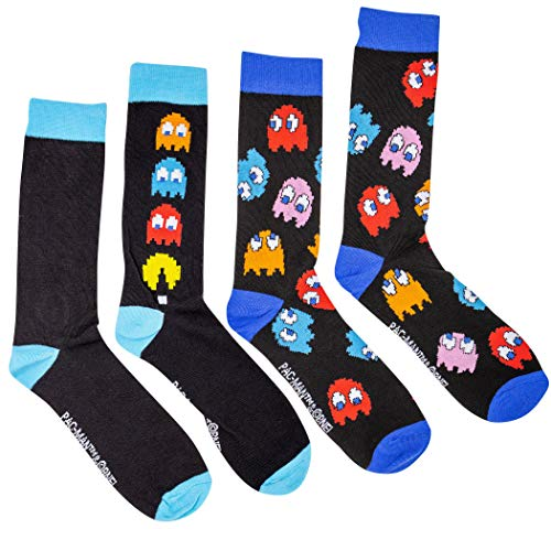 Licensed Official Pac-Man Arcade Chase and All-Over Ghosts 2-Pack Crew Socks
