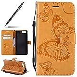 Kompatibel mit Handy Schutzhülle Huawei Honor View 10 Handytasche Leder Wallet Klapphülle Schöne Schmetterling Muster Kunstleder Tasche Flip Hülle Cover Klappbar Lederhülle Book Hülle,Gelb