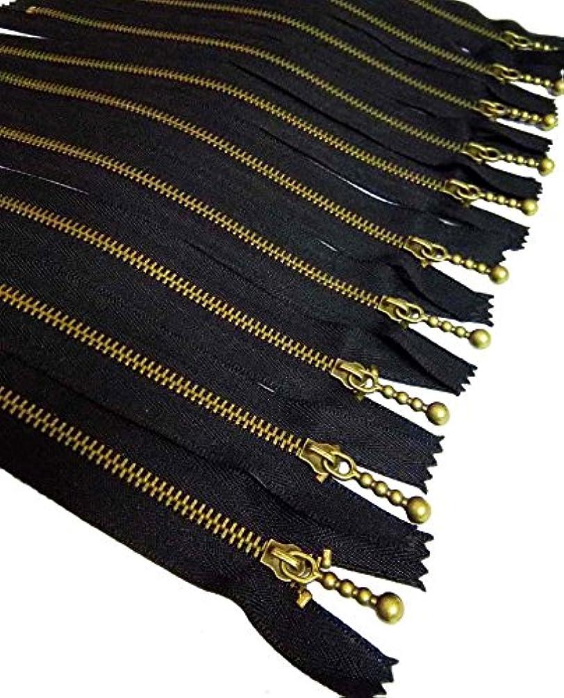 Metal Zippers 10 pcs - #3 Antique Brass Close-end, 7.9 Inch/20 cm, Black - by Beaulegan