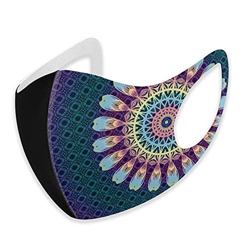 Maschera per il viso in cotone nero, lavabile, mandala indiano, multicolore, stile hippy boho, con passanti traspiranti e confortevoli, copertura curva per respirare uomini e donne all'aperto