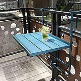 HIMAPETTR Mesa Colgante De Balcón Plegable, Ajustable Forja Mesa, Mesa Terraza, Mesa para Muebles De Comedor, Jardín, Café, Resistente Al Sol Y Antioxidante, Barandilla Ahorrar Espacio,Azul