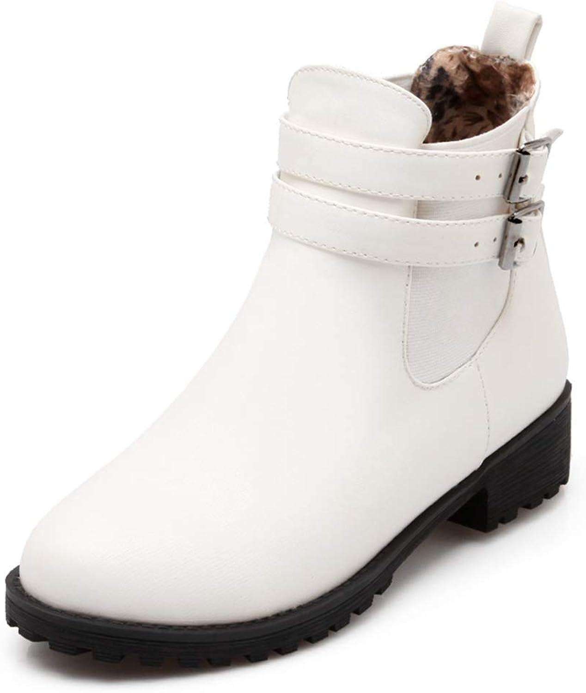T-JULY Fashion Comfort Winter Boots Women Square Heels Elegant Girls Belt Buckle Ankle Boots