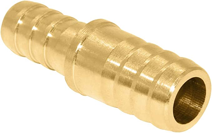 Beduan Brass Reducing Barb Fitting 1//4-3//8  Hose ID Home Brew Reducer Barb Brabed Splicer Mender Union Air Water Fuel Pack of 2