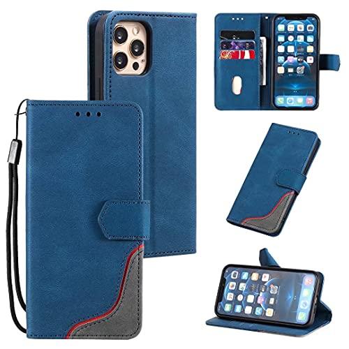 Compatible con iPhone 13 a prueba de golpes Premium cuero Flip folio Wallet Case cierre magnético Bookstyle cubierta con ranuras para tarjetas Kickstand Ver teléfono Casos para iPhone 13 azul
