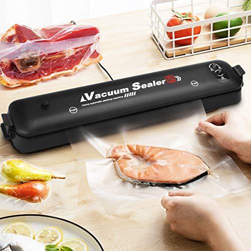 Máquina al vacío alimentaria profesional, para conservación de alimentos, carnes, verduras, frutas, incluye 15 bolsas al vacío alimentario (negro)