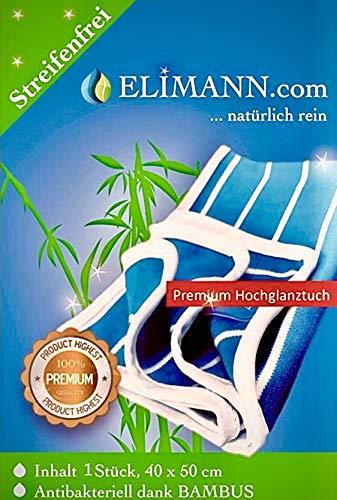 Elimann® Bambus Hochglanz-Reinigungstuch für Glas/Spiegel/Scheiben/Besteck/Brillen/Autos/Bad/Möbel STREIFENFREI FUSSELFREI Glanz für alle glatten FLÄCHEN. 1 Tuch 40 x 50cm