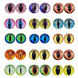JJG 100PCS 8mm Dragon Eyes Round Glass Cabochon Flatback Jewelry Findings Horse Eyes Cat Eyes Doll Eye Dome Cameo Pendant Settings in Pairs