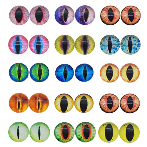 JJG 60PCS 12mm Dragon Eyes Round Glass Cabochon Flatback Jewelry Findings Horse Eyes Cat Eyes Doll Eye Dome Cameo Pendant Settings in Pairs