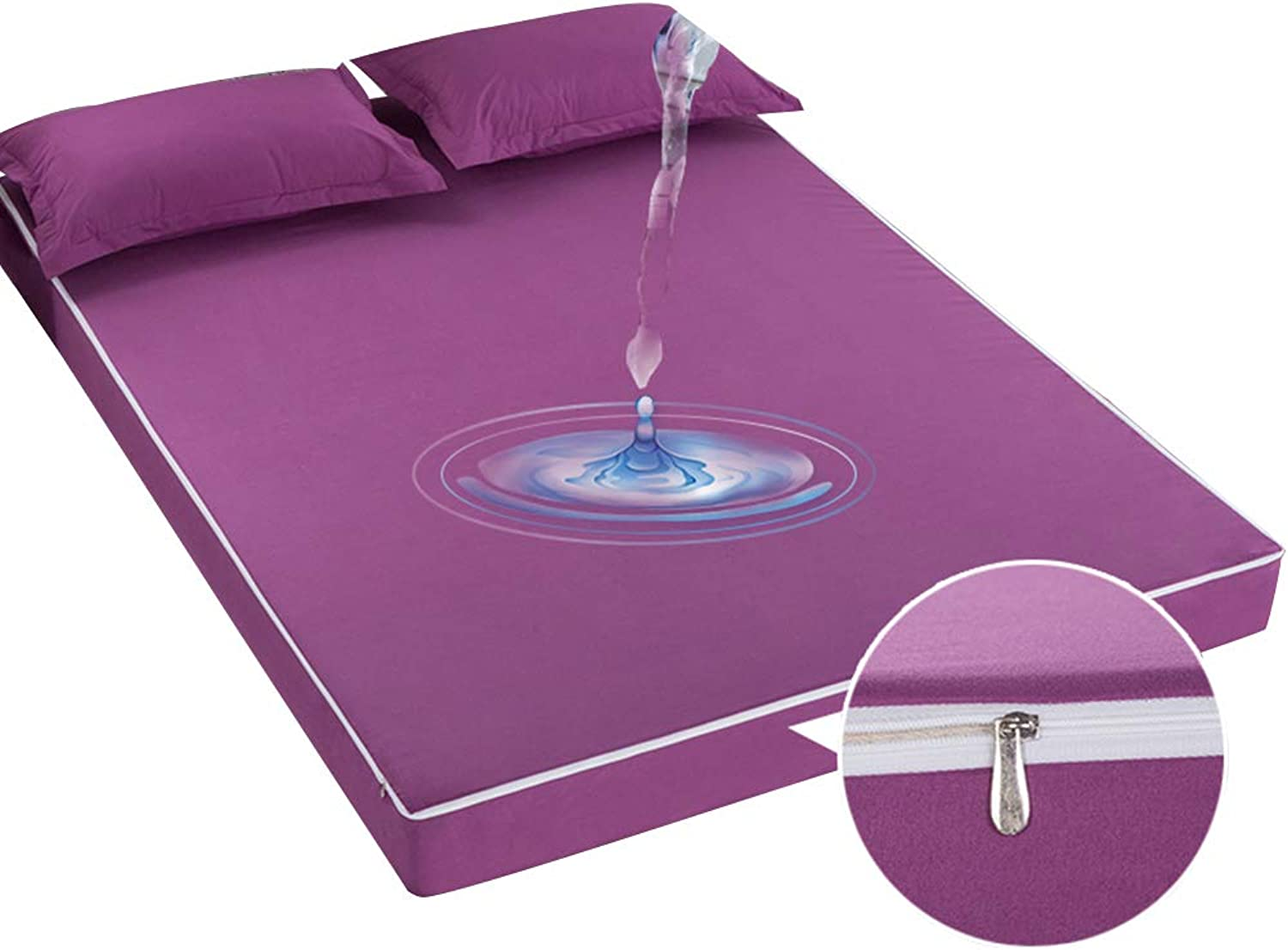 ZHAOHUI Mattress Predector Polyester Hypoallergenic Waterproof Zipper Washable Surrounded by Six Sides Anti-mite, 5 colors, 3 Sizes (color   Purple, Size   150X200cm)