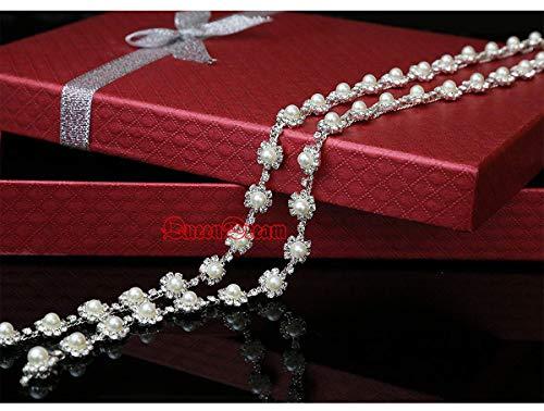 QueenDream Bridal Rhinestone Fine Crystal Inlay Applique Handmade Wedding Dress Belt Beautiful Crystal Trim,Silver Crystal