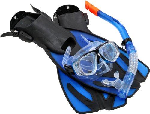 Ultrasport Unisex-Erwachsene Schnorchelset Bahamas mit Spritzschutz und Quick Clip Halterung, Komfortables Mundstück, inkl.Aufbewahrungstasche, Blau (Light Blue), 42-45