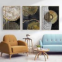 抽象レトロブラックゴールドウッドポスター北欧年輪キャンバス寝室の家の装飾絵画壁アート60x85cmx3フレームレス