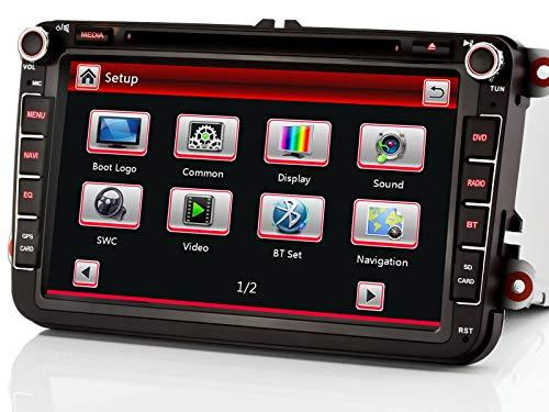 XGOTOGO 8 pollici Touchscreen Autoradio DVD Lettore CD GPS Navigation GPS FM sulla radio Bluetooth USB SD DAB +, fotocamera inversa, controllo del volante, radio per Volkswagen, Skoda e Seat