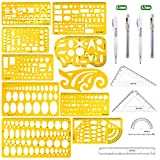 Product Image of the Keadic 15 Pieces Curve and Template Ruler Kit Protractor,Circle Template,...