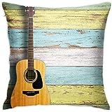 N/A Funda de Almohada Música Guitarra acústica en tablones de Madera envejecidos Pintados de Colores Diseño rústico del país Imprimir Tema Arte Multicolor Decorativo 18 X 18 Pulgadas