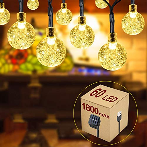 60 LED Solar String Lights, 36ft Outdoor Garden Solar Lights Waterproof Crystal Ball Decoration Fairy Lights for Garden Patio Yard Wedding Christmas Parties, Indoor/Outdoor, Solar Powered (add USB)