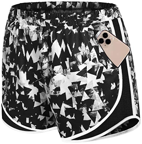 Fulbelle Womens Gym Shorts, Sweat Wicking High Waisted Lined Printed Female Sports Tights with Side Pockets Workout Exercise Running Yoga Athletic Clothes Geometry XL Black Camo