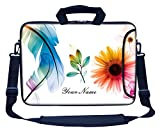 Meffort Inc Custom/Personalized Laptop Bag with Side Pocket & Shoulder Strap for Notebook Ultrabook Chromebook, Customized Your Name (15.6 Inch, White Flower Leaves)