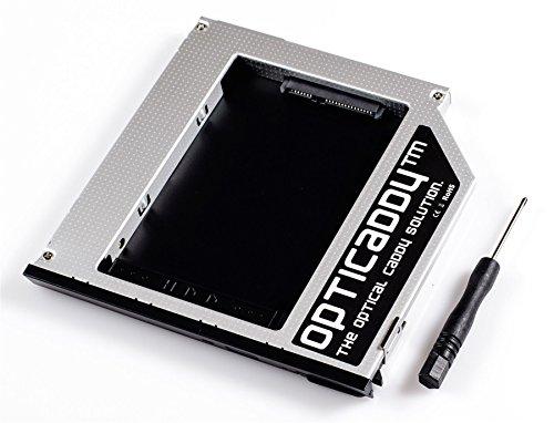 Opticaddy® SATA-3 HDD/SSD Caddy mit Auswurfmechanismus für Dell Precision M2400, M4400, M4500, M6400, Latitude E6400, E6410, E6500, 6510 mit Opticaddy OptiSpeed Technology (original Opticaddy Festplattenrahmen, Einbaurahmen, Adapter)