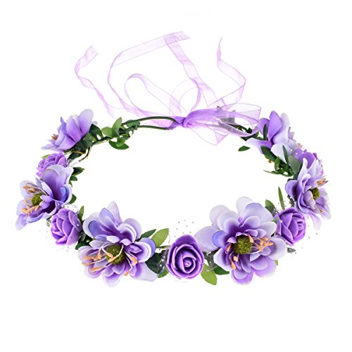 June Bloomy Rose Flower Leave Crown Bridal Halo Headband with Adjustable Ribbon (Lavender)