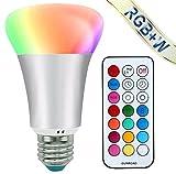 LED RGBW Lampe mit Fernbedienung - Mifine 10W E27 Base Dimmbare Birne 12 Farben Farbwechsel Lampen,...