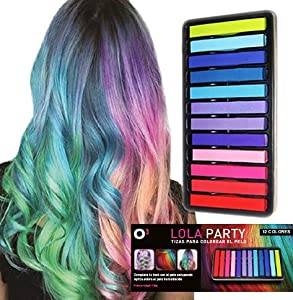 O³ Lola Party Tiza Pelo Niña De 12 Colores - Tiza Pelo Temporal Para Fiestas, Disfraces, Cumpleaños – Tizas Pelo Lavables No Tóxicas – Tizas Para El Pelo
