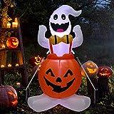 4ft Halloween Inflatable Ghost in Pumpkin, Blow Up Halloween Decorations with Built-in LED Lights for Indoor/Outdoor Yard Garden